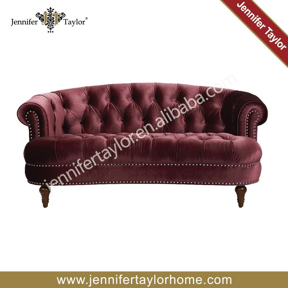 Classic Scroll Arm Chesterfield Style valentino velvet fabric Loveseat sofa