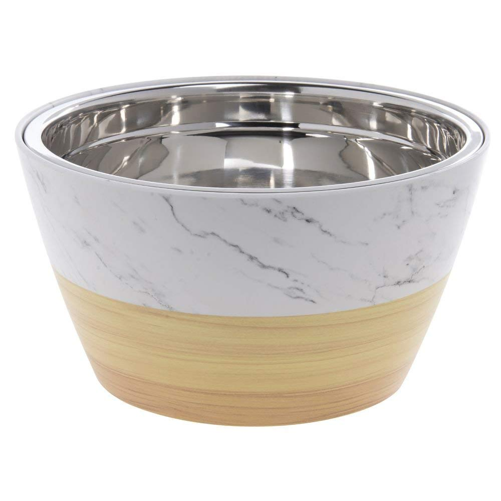 """Expressly Hubert Faux Light Wood/Marble Melamine Bowl with Stainless Steel Insert - 12""""Dia x 6 1/2""""H"""