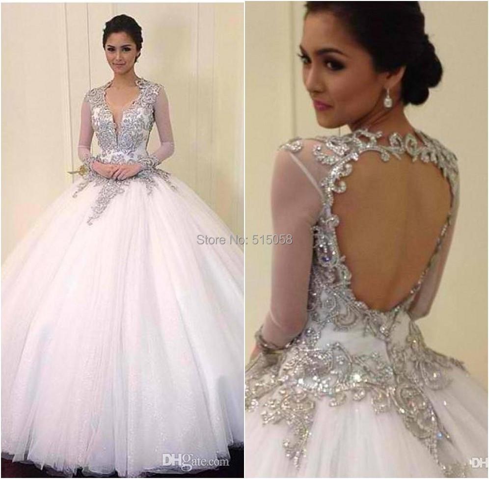 2015 New Elegant Full Long Sleeves Mermaid Wedding Dresses: New Elegant Ball Gown Crystal Beaded Wedding Dresses Long
