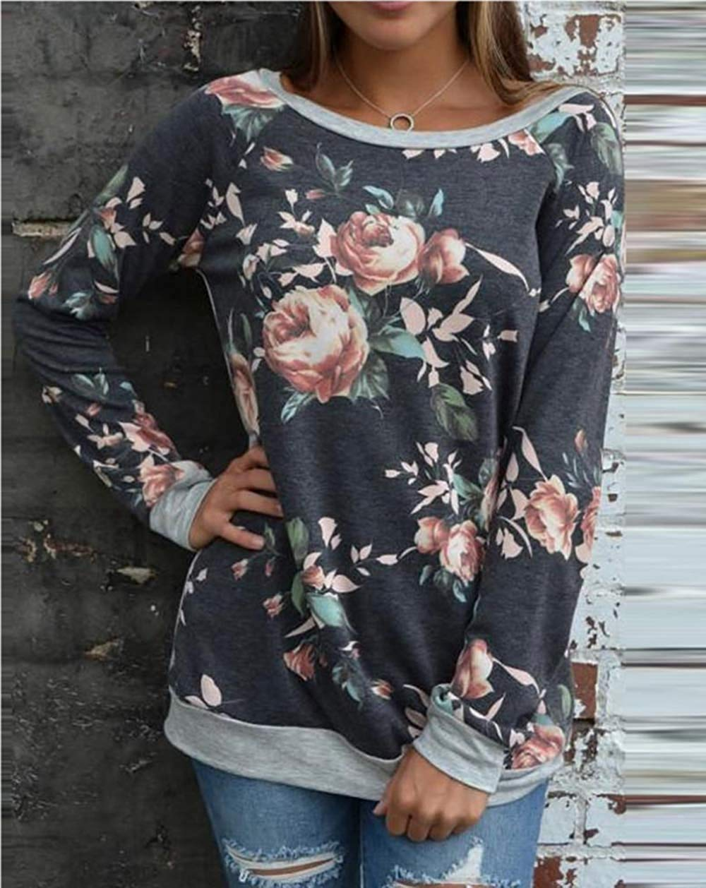 e834ed9c5 Get Quotations · Womens Casual Floral Patchwork T-Shirt Long Sleeve Tops  Sweatshirt Blouse BCDshop