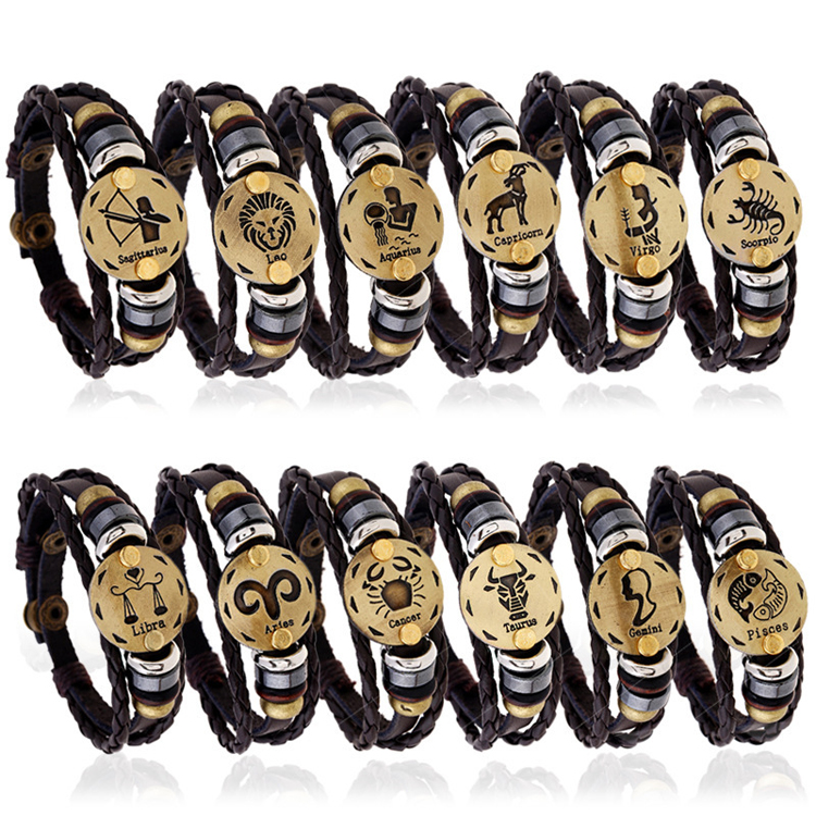 Bling Fashion Punk Wooden Beads Charm Jewelry Bronze Alloy 12 Zodiac Leather Bracelets For Men