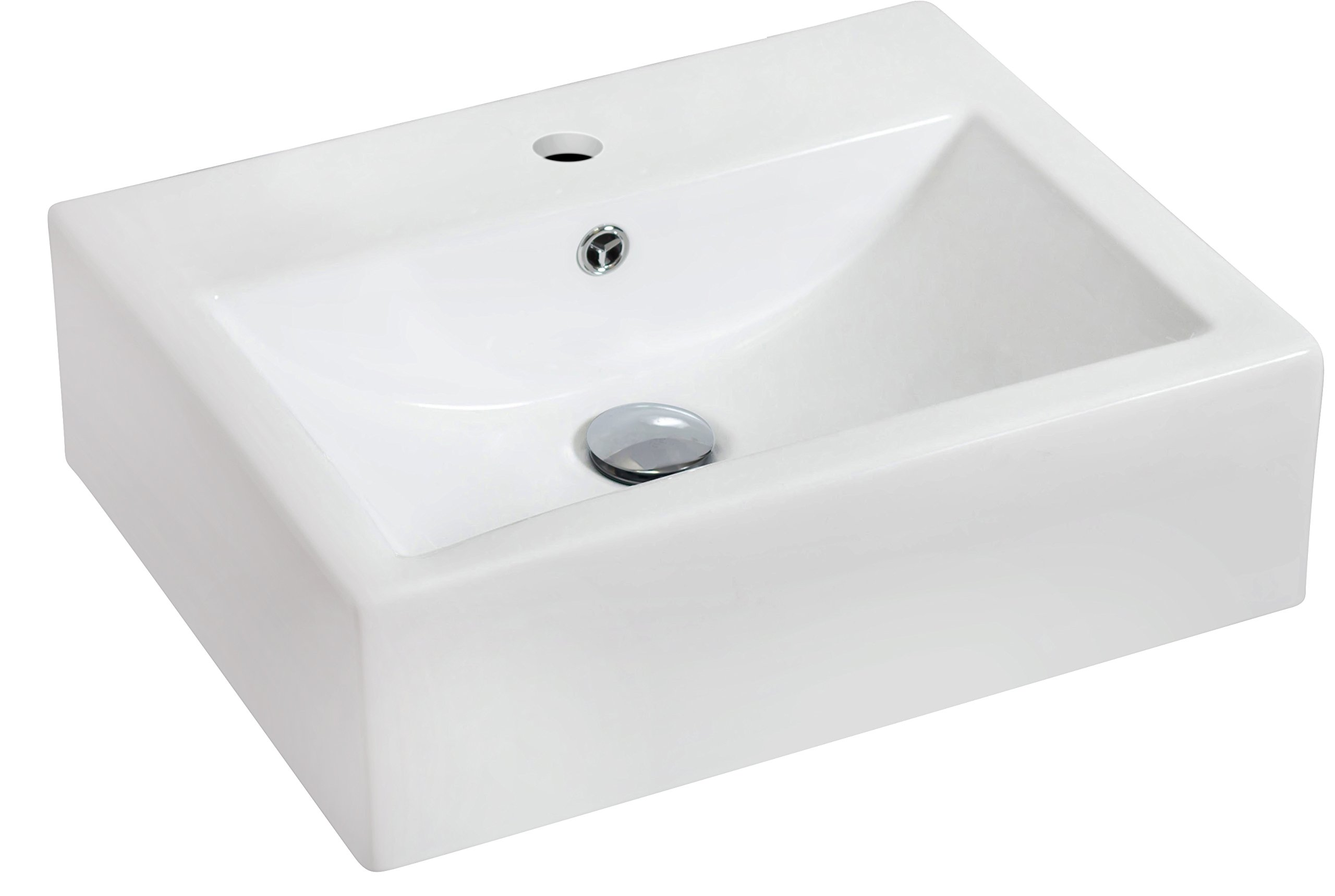 American Imaginations 685 Wall Mount Rectangle White Ceramic Vessel with Single Hole
