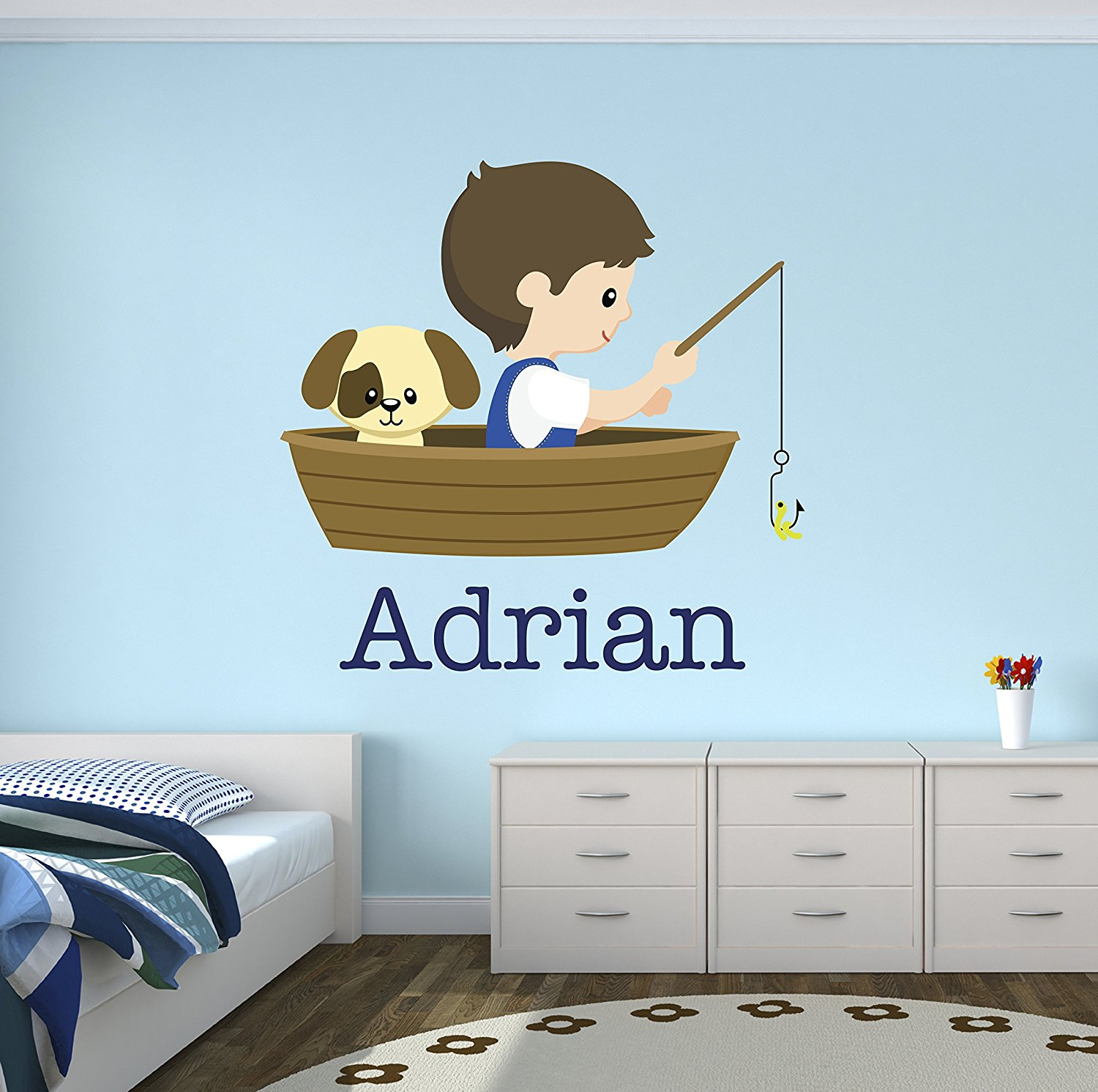 Get Quotations · Fishing Boy And Dog Custom Wall Decal   Name Wall Decals    Nursery Wall Decals