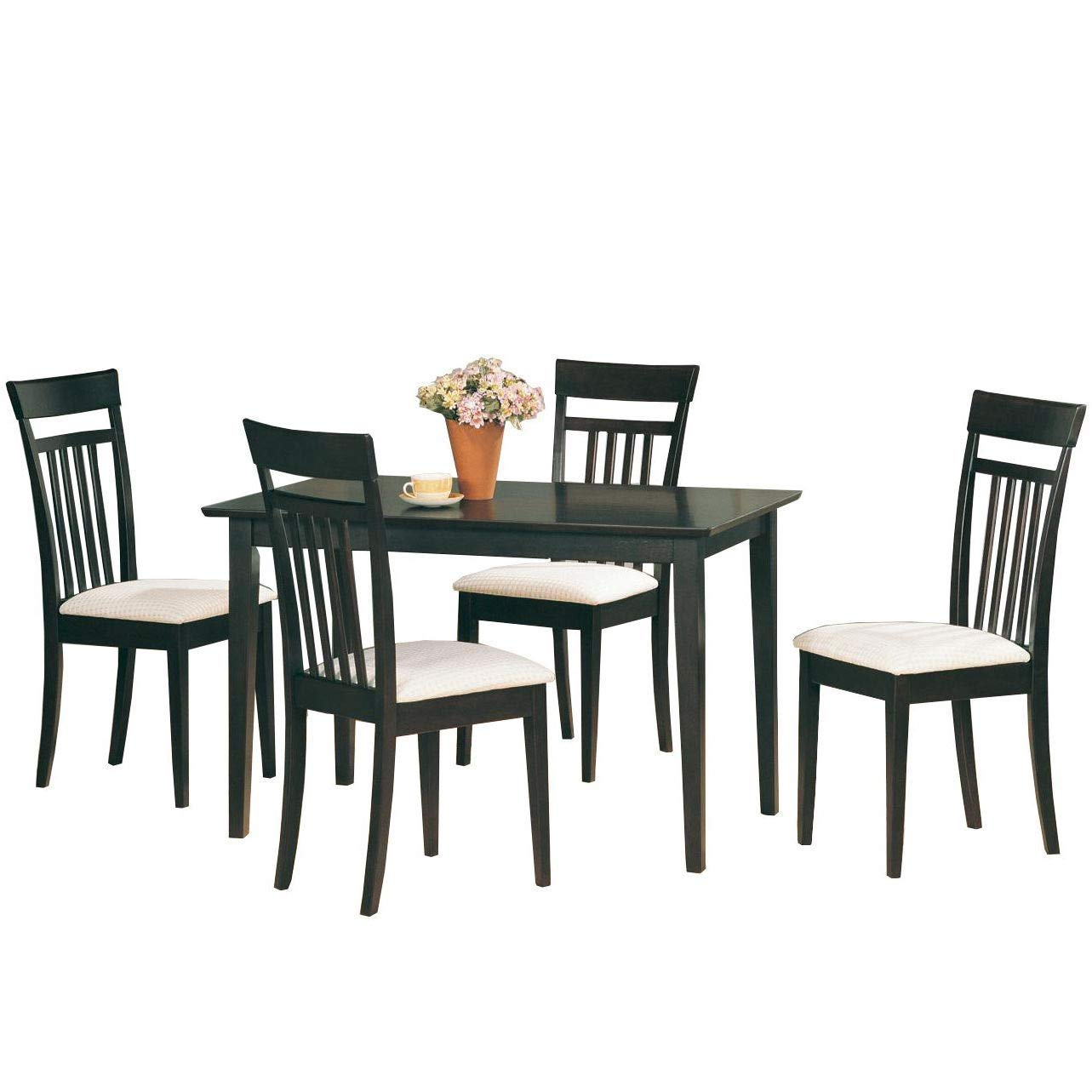 BeUniqueToday Casual Contemporary 5-Piece Dining Set in Dark Brown Wood Finish, Chic Yet Simple Dinette Set for Breakfast Nook or Dining Room, The Table Features Clean Lines and Sleek Tapered Legs