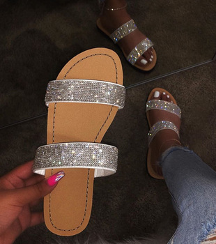 Sd-050 Fashion Sequined Pu Sole Sandals