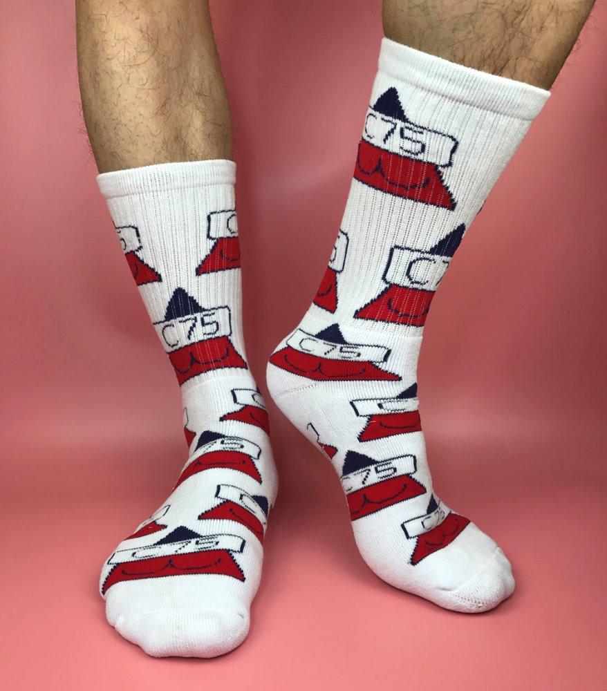 Hombres de algod n terry logotipo personalizado media pantorrilla calcetines deportivos - Calcetines de navidad personalizados ...