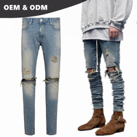 OEM own brand guangzhou jeans market buy jeans in bulk mens ripped Spray destroyer denim jeans 11