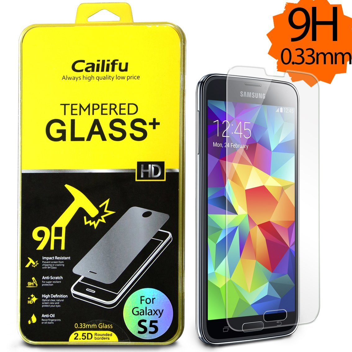 Cailifu [Tempered Glass] Samsung Galaxy S5 Highest Quality Premium High Definition Ultra Clear Screen protector with Lifetime Replacement Warranty [1-Pack] - Retail Packaging 2014 (0.33mm,2.6D Rounded Edges)