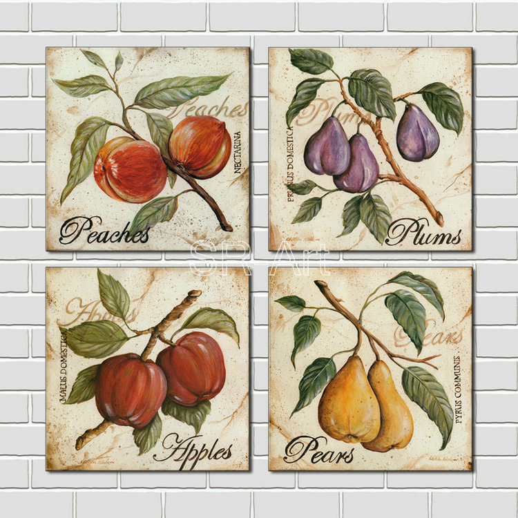 Series Paintings Wall Art Fruit Apple and Pears painting 4 Panels Picture Print on Canvas for Modern Home Decor