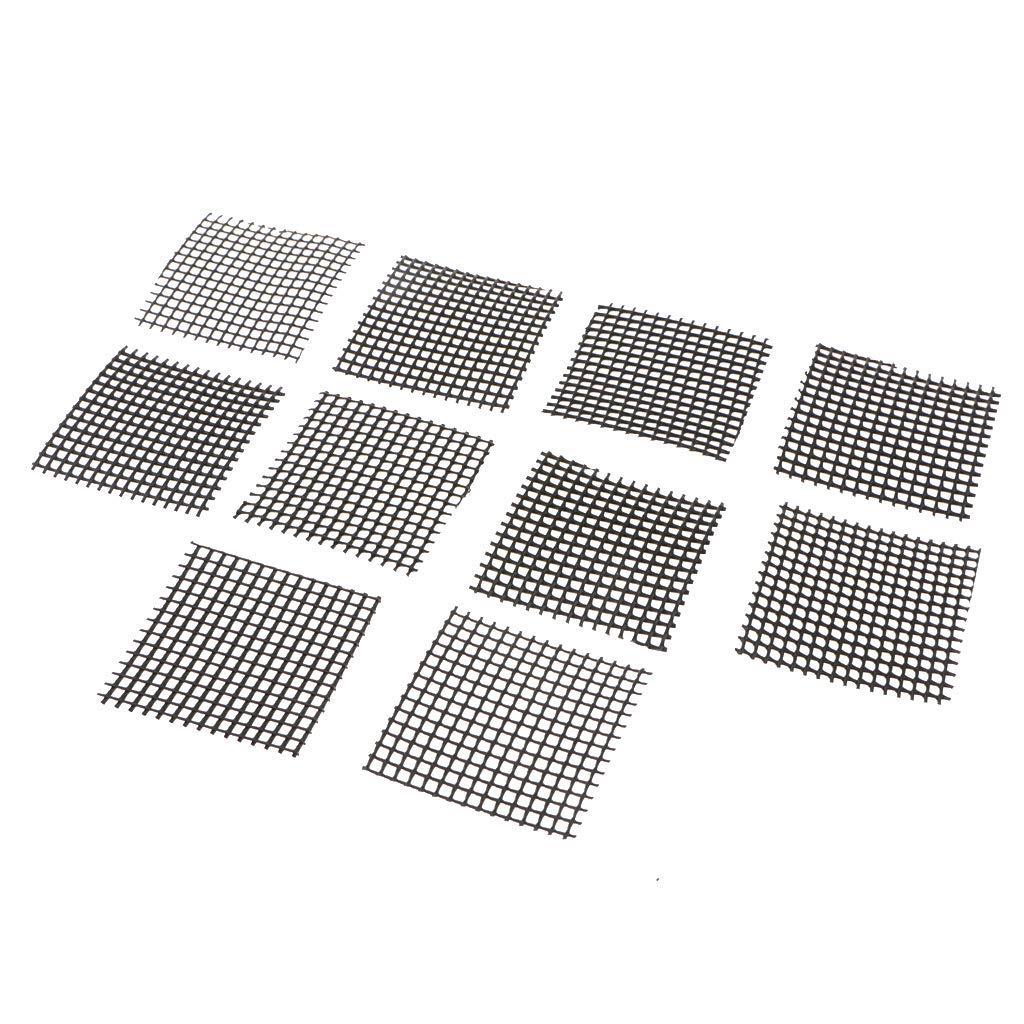 Fityle 5/10 x Plastic Cuttable Drainage Net Bonsai Mesh Garden Care,Prevent Soil Loss - Black, 5 .2 x 5.2 cm 10 pcs