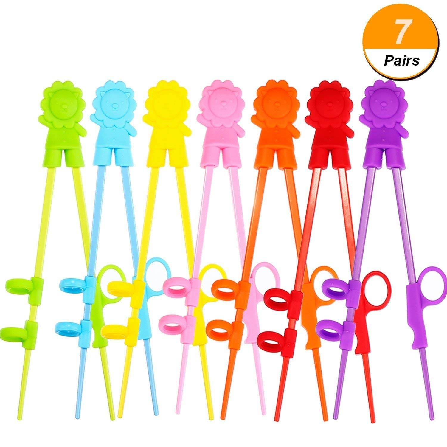 BBTO 7 Pairs Colorful Training Chopsticks Set with Attachable Learning Chopsticks Helper for Right or Left-handed Beginners, Kids, Teens or Adults