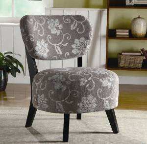 Accent Chair with Grey and White Floral Pattern in Dark Brown Wood Legs