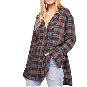 New Autumn Women Apparels Button Down Loose Plus Size Soft Check Plaid Wool Shirt Dress Design