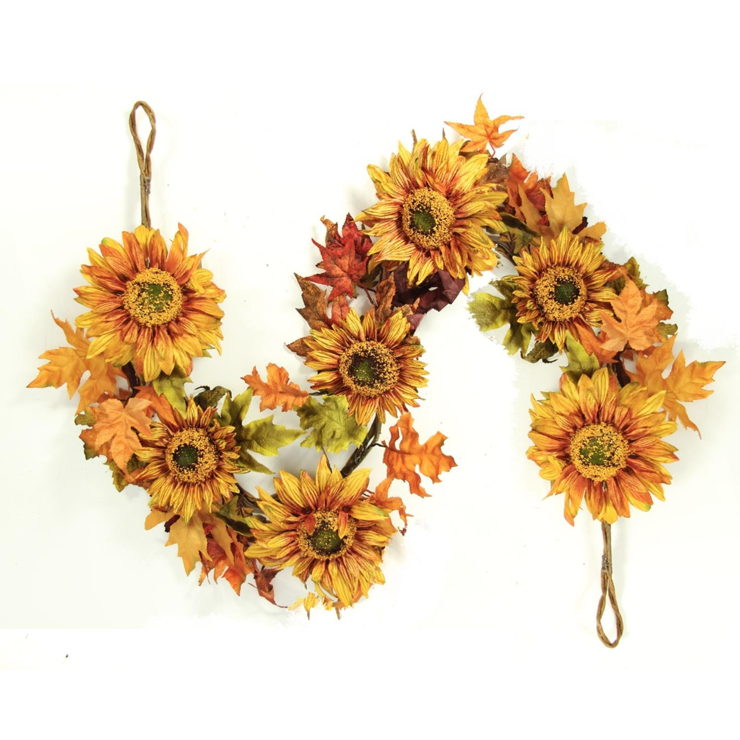 5' Autumn Fall Harvest Sunflower and Leaves Artificial Silk Floral Garland - Unlit