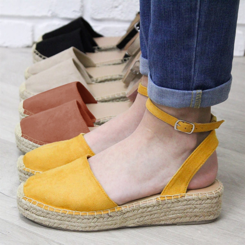 Female Closed Toe Shoes Straw Wedges