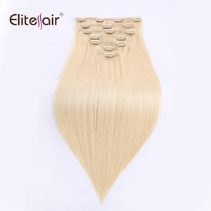 Hot selling Brazilian Human Hair Weave In Clips Light Blonde 613 Grade 10A Virgin Clip In Hair Extension