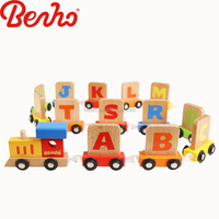 Building Block Alphabet train Wooden Baby Educational toys for kids