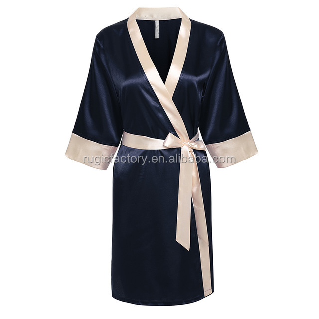Women's Kimono Robe Knee Length Bathrobe Nightwear Bridesmaid Robes With Short Satin Lace