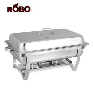 NOBO Brand Malaysia Induction Folding Buffet Chafer Full Size Modern Chafing Dish With 2 Fuel Holders