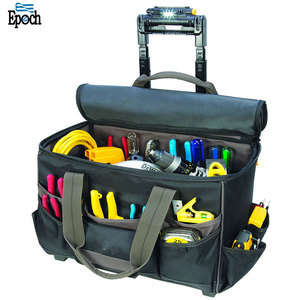 China manufacture customized waterproof 17 inch trolley tool bag with lighted handle for workers