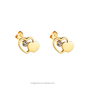 Custom Jewelry Earring Design Gold Heart Earrings 22k Gold Stud Earrings Women