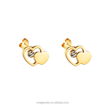 Custom Jewelry Earring Design Gold Heart Earrings 22k Stud For Women Product