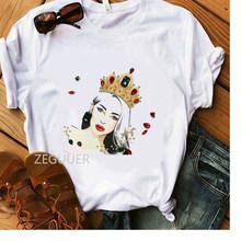 Женская футболка с принтом в виде короны, хлопковая Мягкая Белая Повседневная футболка с рисунком красных губ(Китай)