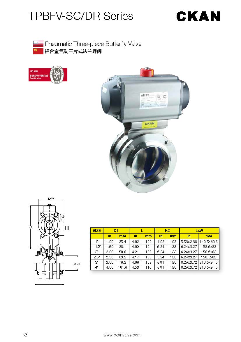 Sanitary Stainless Steel Pneumatic Three-piece Butterfly Valve