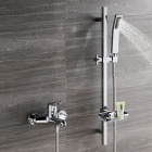 HIDEEP Bathroom shower wall mounted cold and hot water tap copper bathtub faucet