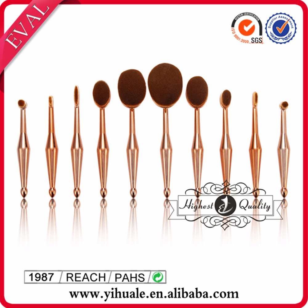 "Hot selling newest ""mermaid"" oval tooth makeup brush set"