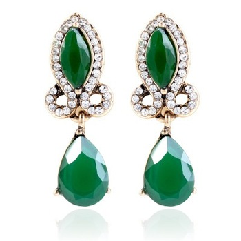 Europe And America Vintage Vogue Resin Drop Earrings Diamond Accessories Alloy