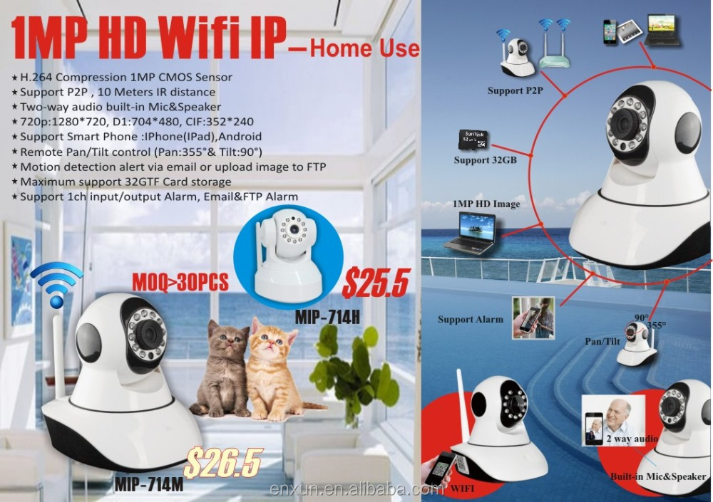 Enxun cheap and popular easy to install p2p indoor WiFi Wireless IP camera with APP for baby monitoring