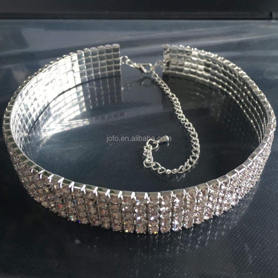 2018 Hot Sell <strong>Fashion</strong> 5 Raw Crystal Rhinestone Elastic Choker Necklace