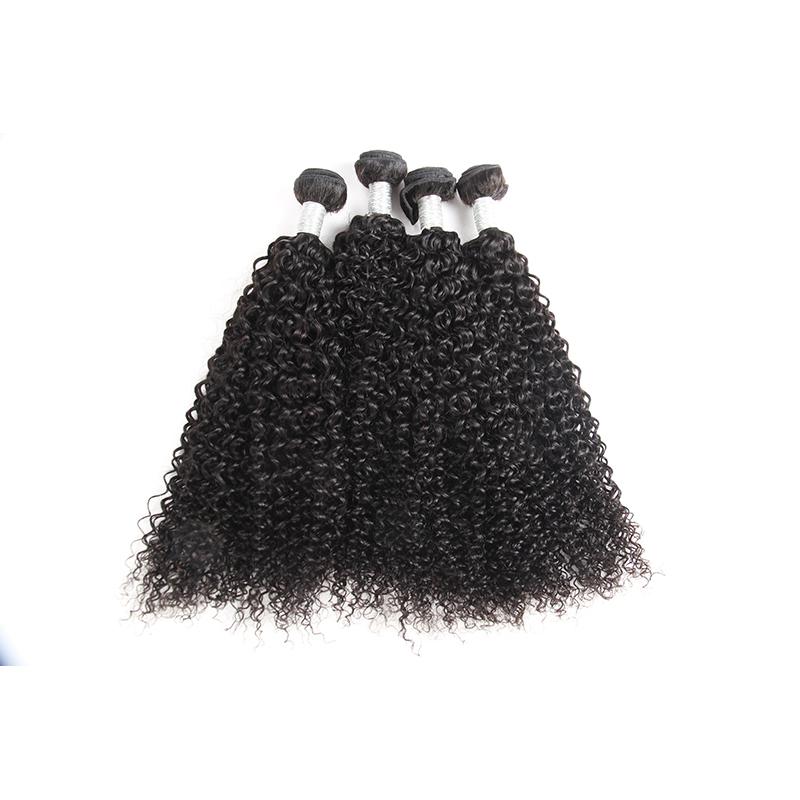 Raw Curly Virgin Brazilian Mink Hair Bundle 100% Human Hair Bundles Bouncy Natural Color, Natural color #1b