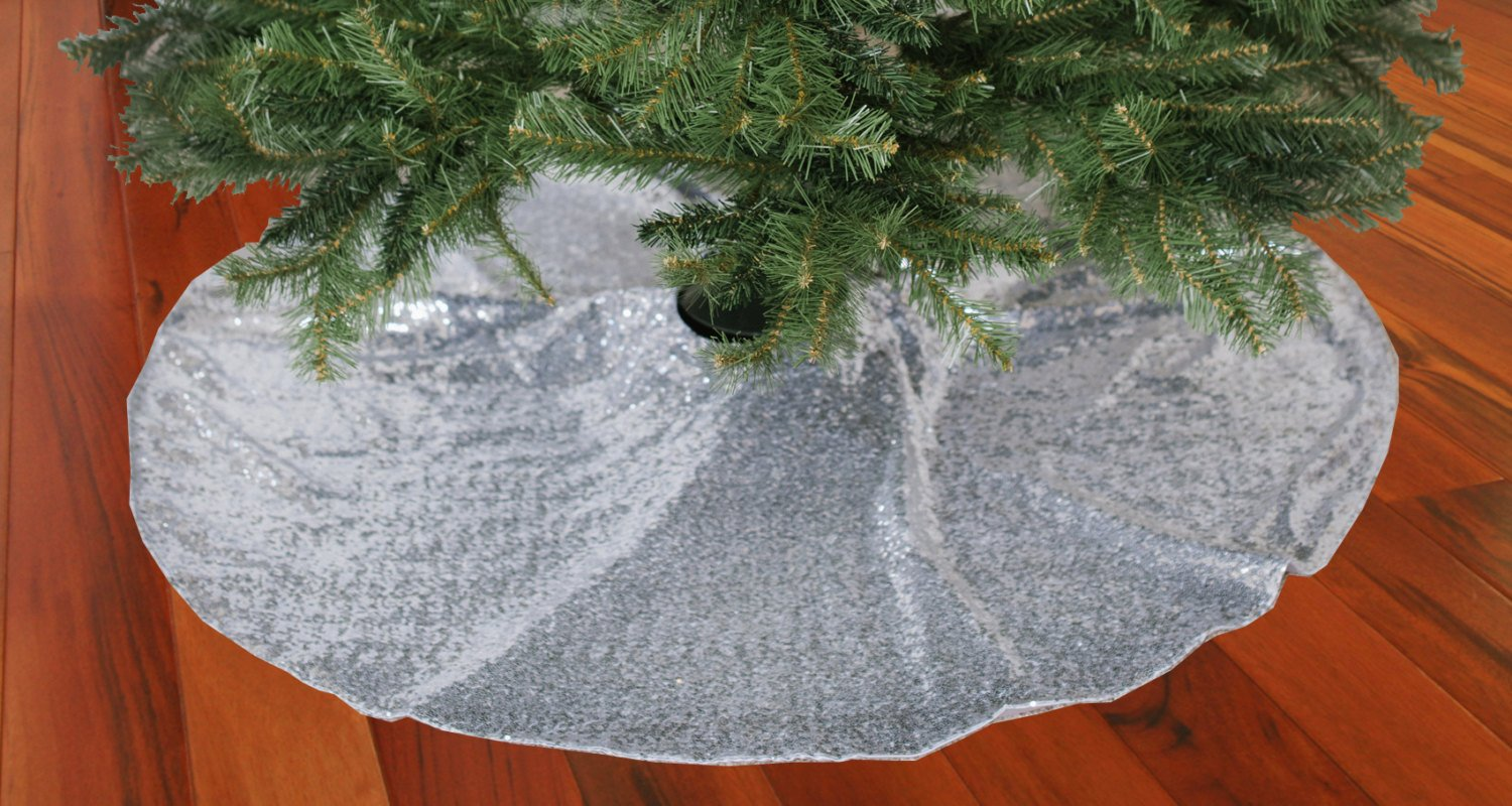 competitive price 97244 e750e ShinyBeauty Christmas Tree Skirt-24Inch-Silver,Sequin Tree Skirt,Rustic  Tree Skirt,Rustic Christmas Decorations