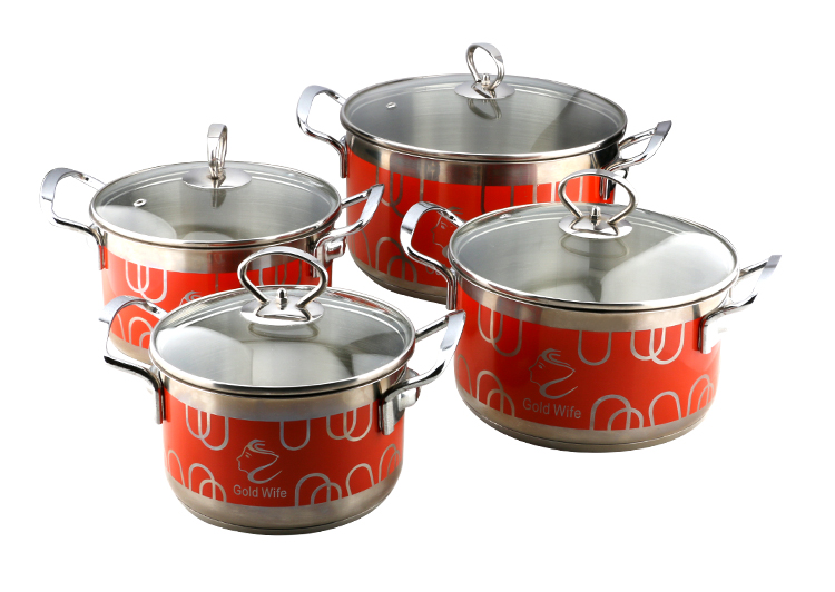 2018 new products 6 pcs stainless steel cooking stock pot set cookware with lid