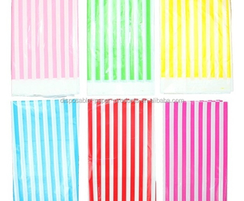 Merveilleux Partysupplier Yiwu Wholesale Disposable Table Cover Tablecloth STRIPES  Striped Party Supplies Disposable Plastic Pink Blue
