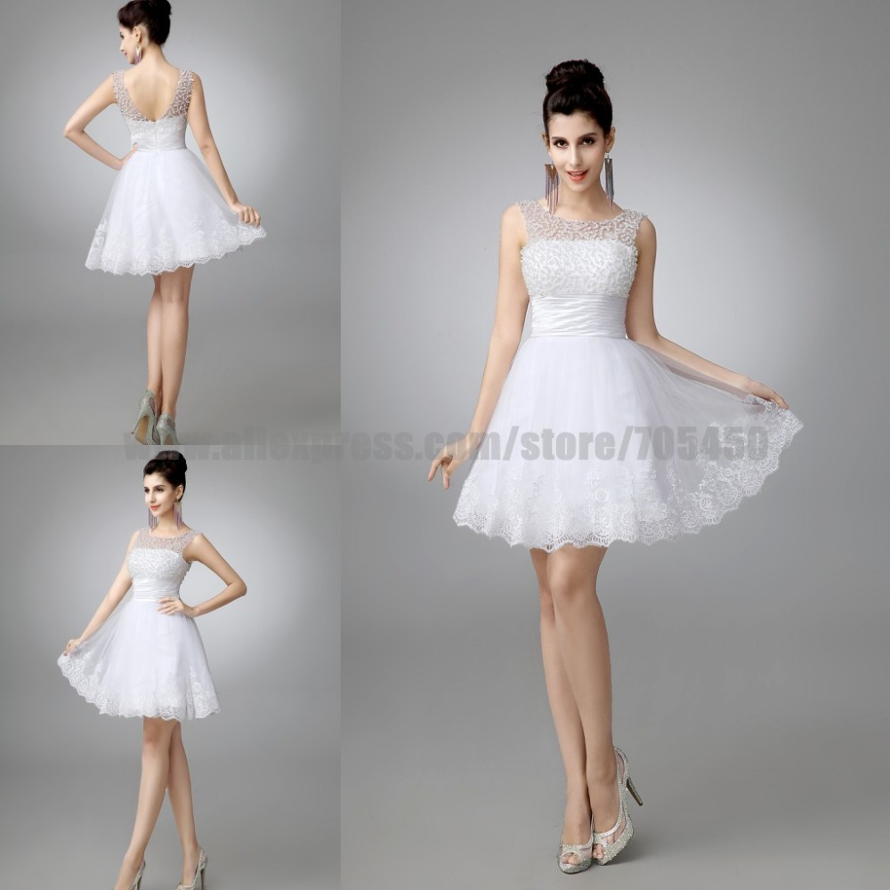 Latest Wedding Gowns 2015: 100% Real New 2015 White Short Wedding Dresses The Bride