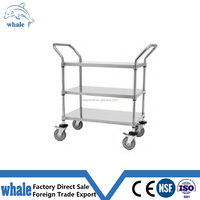 Medical 3 Tier Chrome finish Wire shelf mobile cart