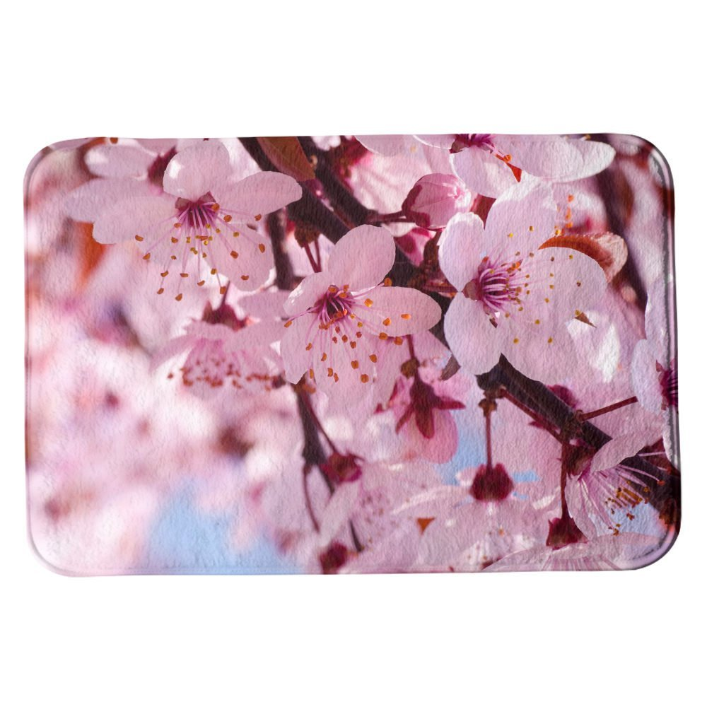 SuaveMats Bathroom Shower Accent Rug - ( Blossom Flowers Cherry Blossom Flower Cherry Pink Flower Close )