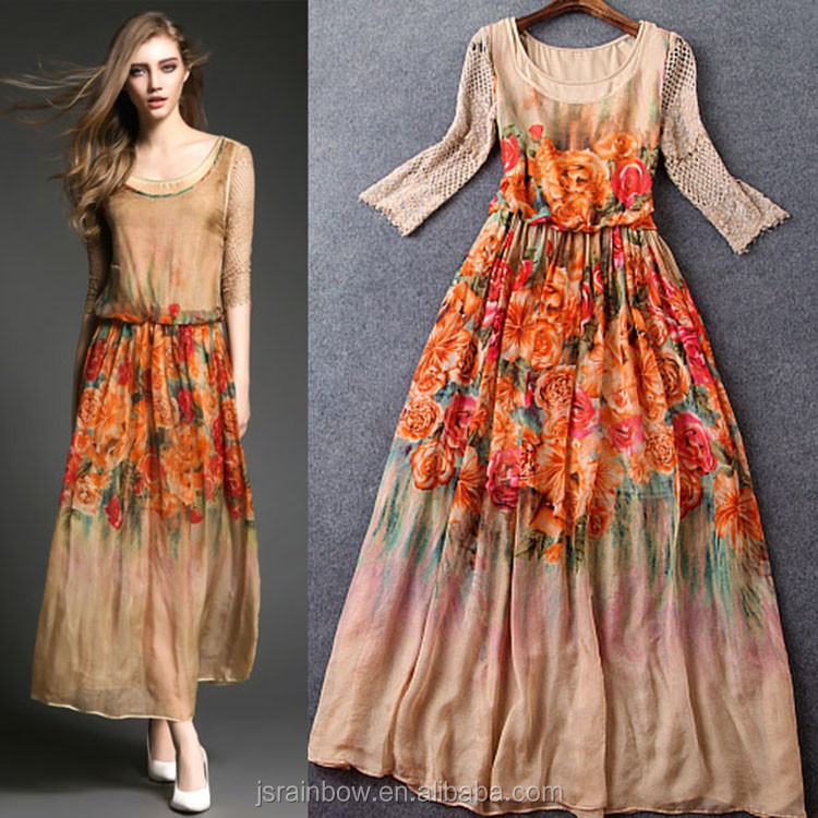 New Arrival Orange Digital Print Flowers See Through Thai Silk ...