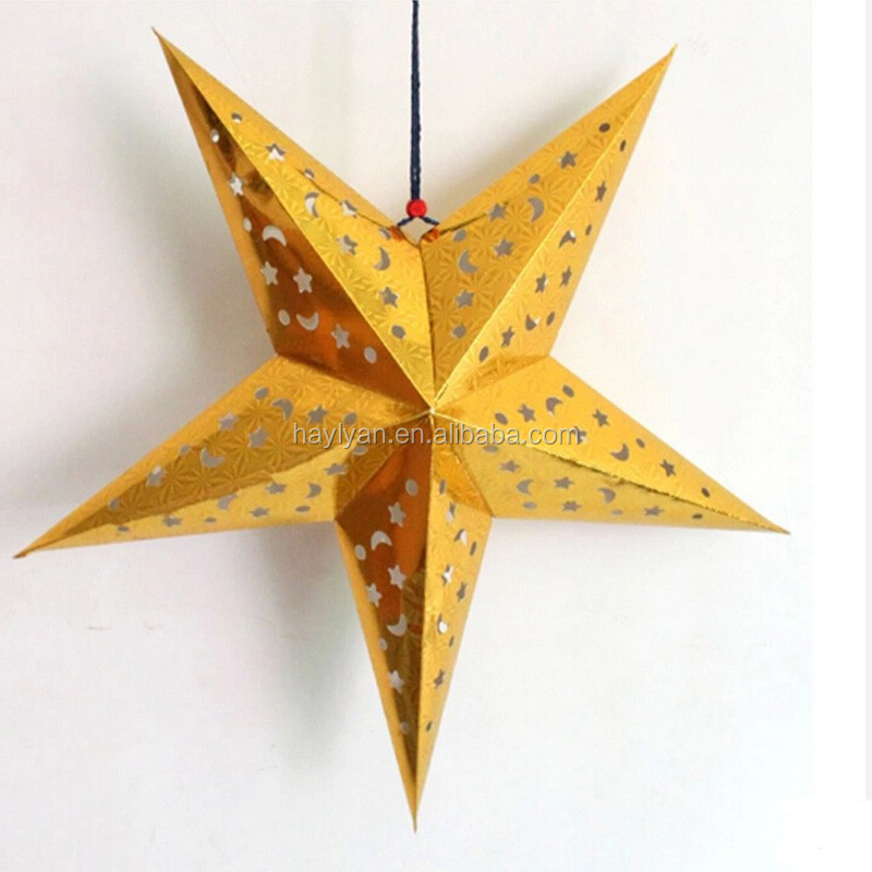 Gold high quality party paper star lantern on sale