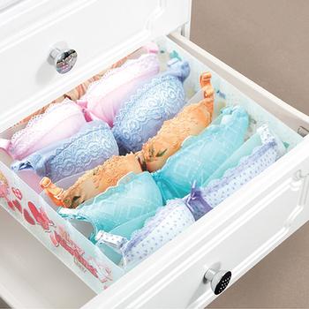 Collapsible Underwear Bra Storage Box Organizer , Sturdy Plastic Drawer  Divider