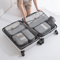 7pcs new design waterproof travel luggage cloth storage bag mesh organizer