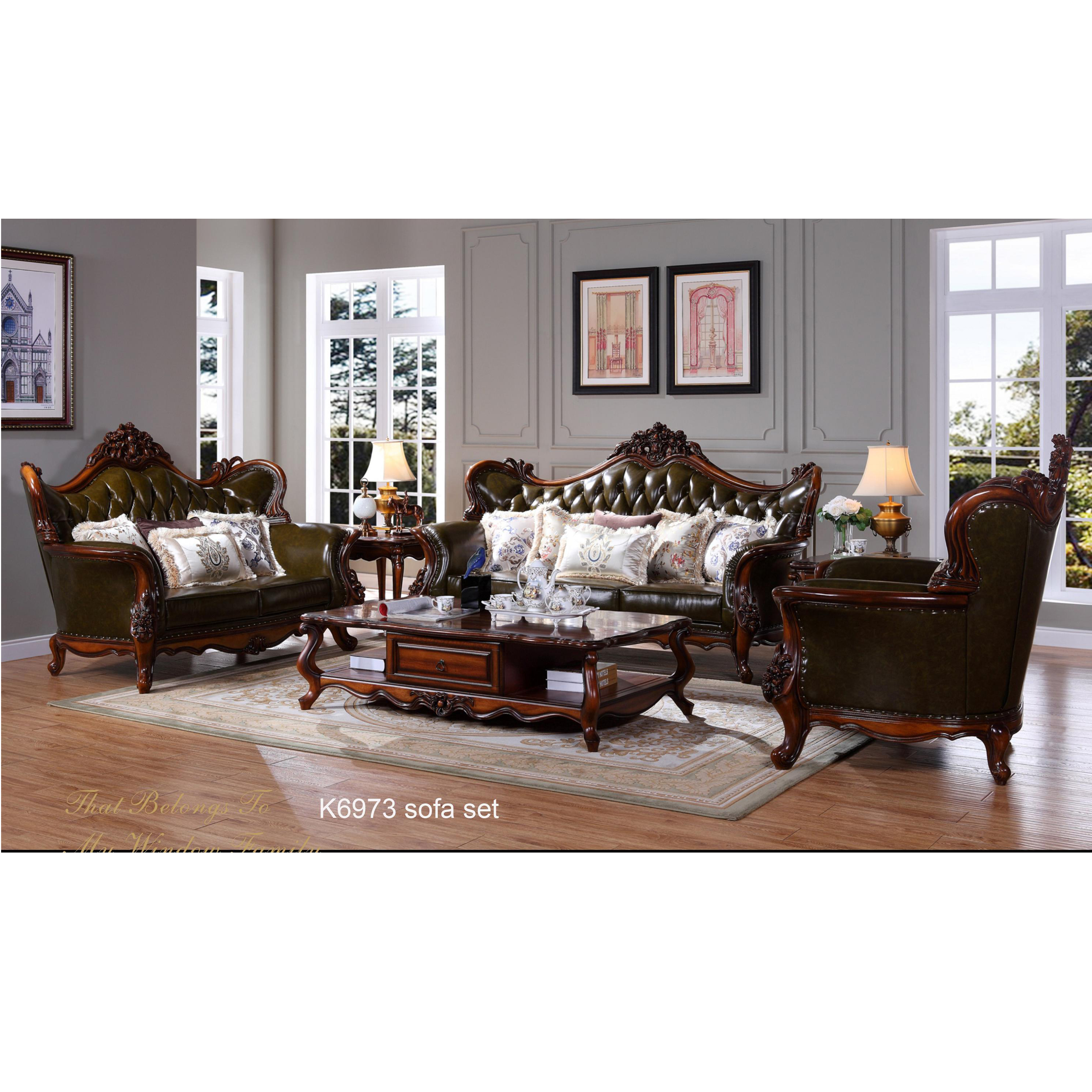 K6973 Hot American Style Rustic Chesterfield Light Leather On Tuft Antique Living Room Sofa Set Green Real Vintage