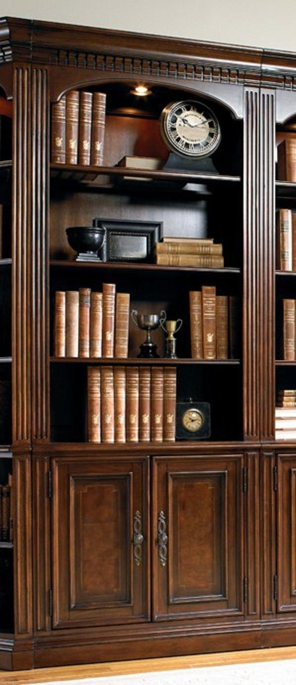 Hooker European Renaissance II Office Furniture Set with 2 x Bookcase, 3 x Bookcase and 2 x Bookcase