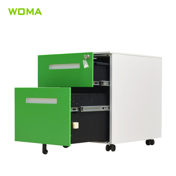 High Quality Custom 2 Drawer Steel Mobile Pedestal / Filing Cabinet For  Office