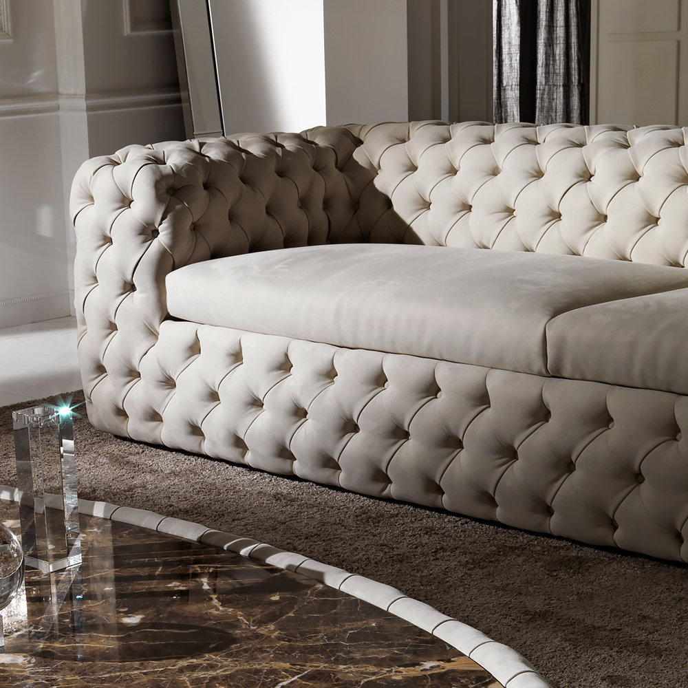 Modern Luxury Italian Sofa Tufted Nubuck Leather Sofa For