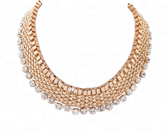 Fashion Multicapa Neckalce Plated 18K Gold Women Statement African Necklace
