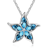 Charm Vintage lady Blue Crystal Zircon Flower Silver Plated Necklaces & Pendants Jewelry for Women Free Shipping IC506